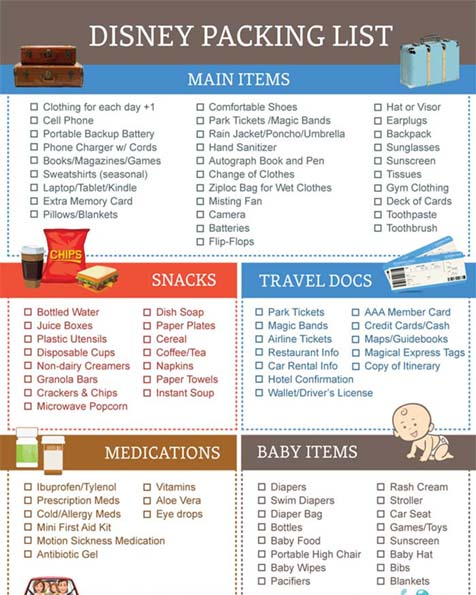 packing list for disney world