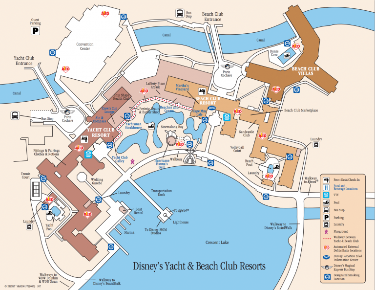 Disney's Beach Club and Yacht Club Resorts Map