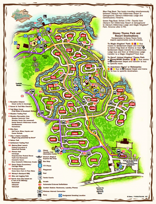Disney's Fort Wilderness Campground and Cabins Map