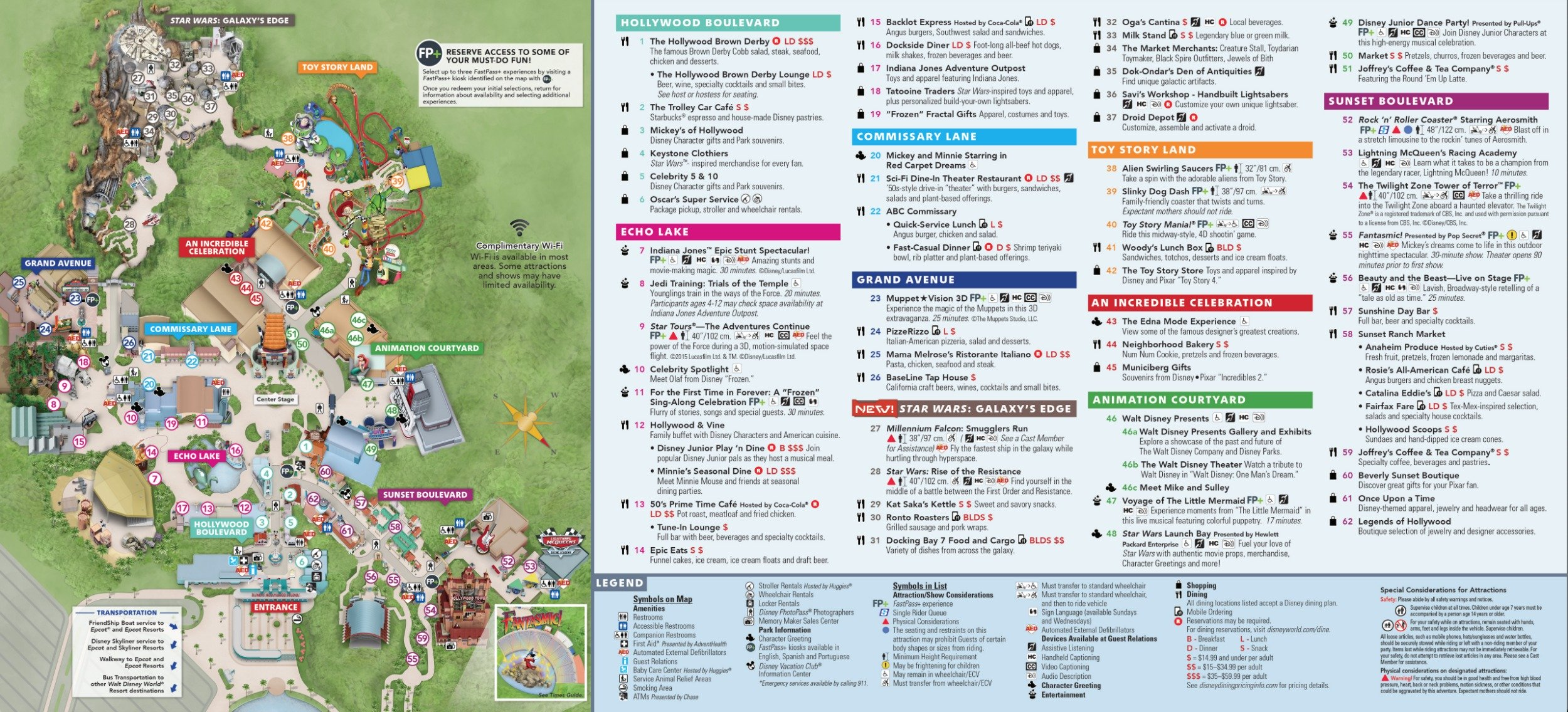 Hollywood Studios Map 2020