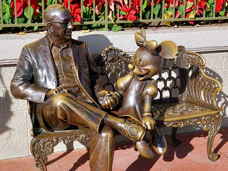 Walt Disney with Minnie Mouse Bronze Statue